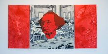 A rectangular oil painting sits on a white wall. It is a reinterpretation of the Canadian flag. John A MacDonald's head sits in the centre painted in red paint in lieu of a maple leaf. The white background is an image of beds in a residential school painted in white and grey. Some children are visible in their beds and one child is looking directly at viewers. The red panels on the right and left are painted using paint thinner to create a visceral texture.