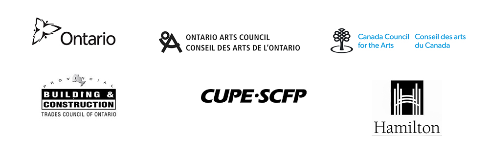 Logos for the Province of Ontario, The Ontario Arts Council, The Canada Council for the Arts, CUPE, and the Provincial Building and Construction Trades Council of Ontario