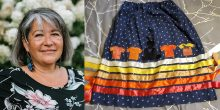 A photo of artist/activist Patty Krawec and a photo of one of her Orange Shirt Day ribbon skirts.